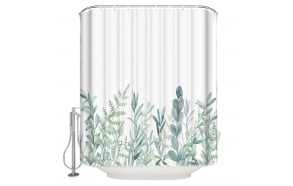 textile shower curtain Green Florals 183x200 cm, white curtain rings included
