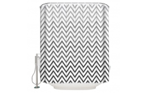 textile shower curtain BW Zigzag 183x200 cm, white curtain rings included