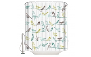 textile shower curtain Birdies 183x200 cm, white curtain rings included