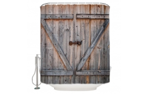 textile shower curtain Barn Door 183x200 cm, white curtain rings included