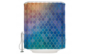 textile shower curtain Blue Diamonds 183x200 cm, white curtain rings included