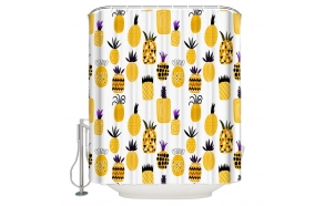 textile shower curtain Pineapples 183x200 cm, white curtain rings included