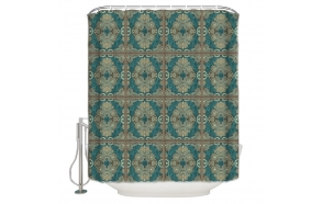 textile shower curtain Arabesque 183x200 cm, white curtain rings included
