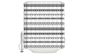 textile shower curtain BW Etno 183x200 cm, white curtain rings included
