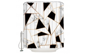 textile shower curtain BW Geometry 183x200 cm, white curtain rings included