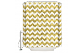 textile shower curtain Zigzag Gold 183x200 cm, white curtain rings included