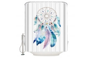 textile shower curtain Dreamer 183x200 cm, white curtain rings included