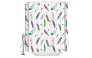 textile shower curtain Pebbles 183x200 cm, white curtain rings included