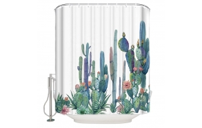 textile shower curtain Cactuses 183x200 cm, white curtain rings included