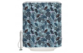 textile shower curtain Blue Florals 183x200 cm, white curtain rings included