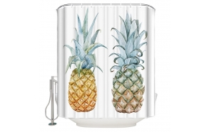 textile shower curtain Pineapples 2, 183x200 cm, white curtain rings included