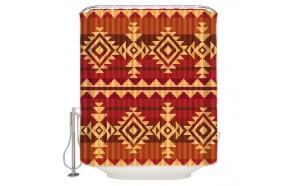 textile shower curtain Red Ethnic 183x200 cm, white curtain rings included