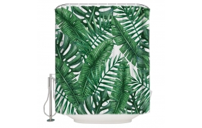 textile shower curtain Jungle 183x200 cm, white curtain rings included