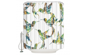 textile shower curtain Birdies 2, 183x200 cm, white curtain rings included