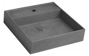 QUADRADO concrete washbasin including waste, 46x46 cm, black granite