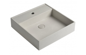 QUADRADO concrete washbasin including waste, 46x46 cm, white sandstone