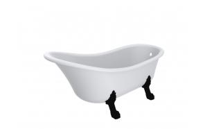 Cast stone bath Nostalgic, mat white, black legs