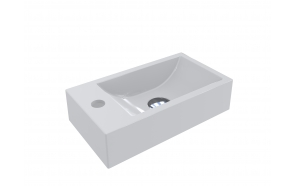 Cast stone sink Austin left, 408x227x100 mm, mat white