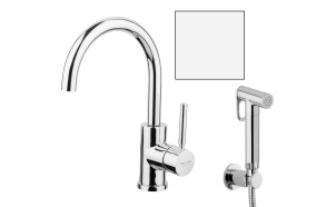 basin mixer Form A with movable spout and bidet spray, mat white