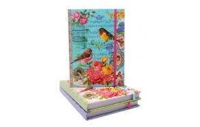 Notebook Bird, 3ass, blue/yellow/pink, 13x18cm