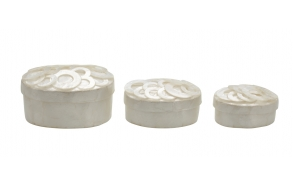 "5"" & 4-1/2"" & 4""L Oval Capiz Boxes w/ Lid, Set of 3, Imported"