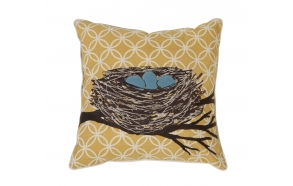 "18"" Square Cotton & Linen Pillow w/ Embroidered Nest ©"