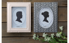"4"" x 6"" Stoneware Photo Frame, Grey & White, 2 Styles"