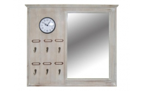 Mirror with clock, grey, 63x56cm