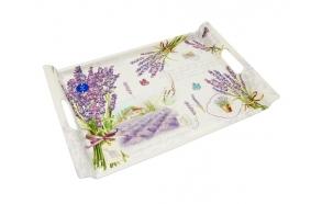 Tray w/handles Bouquet de lavande, 45x31cm