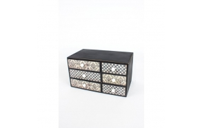 BLACK & WHITE PATTERNED 6 DRAWER BOX