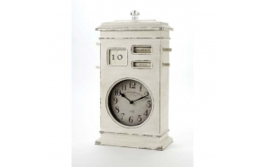 LARGE CREAM DESK CLOCK & CALENDAR