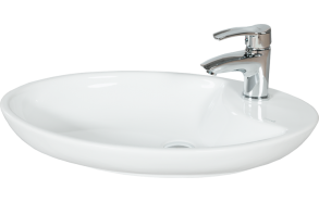 65 CM TOPCOUNTER WASHBASIN WHITE