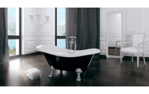 Odelle 160 cm, white feet,black-white, w drain and overflow hole