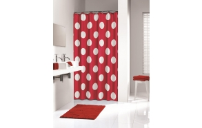 POLKA shower curtain textile, red, 180x200cm