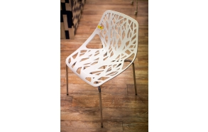 stackable chair Flora, white, metal feet