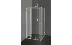 Shower enclosure NORA  PLUS with bronzed fittings and pattern , clear glass