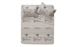 "BEDDING SET COTTON ""POSTCARD"", BEIGE"