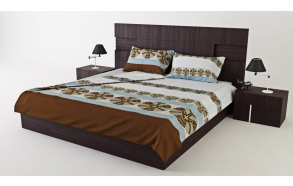 "SATIN BEDDING SET ""DOLCE VITA DIAMOND"", GREY/BLUE (220x200)"