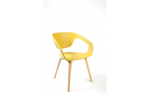 chair with wooden feet,mustard