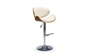bar chair, artificial leather+wood+metal, adjustable height,black+cream