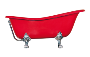 Odelle 160 cm, chromed feet,red, w drain and overflow hole