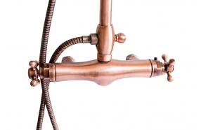thermostatic rain shower mixer, copper