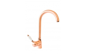 kitchen mixer ROYAL,white lever,copper