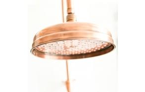 retro shower head 20 cm+30 cm horizontal shower pipe, copper