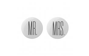Hooks, Mrs./ Mr., White/Black, 2 ass. Ø4