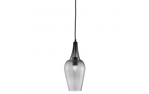 ceiling lamp black+glass, E27, 1X60W