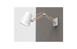 wall lamp white+wood, E27 1X15W, length 20-55cm