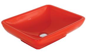 worktop washbasin, red