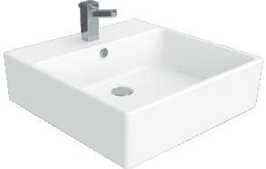 worktop wahbasin Nexus 50x50 cm, white