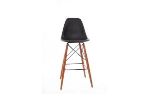black bar stool Alexis, brown feet